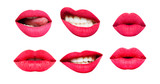 Woman's lip set. Girl mouth close up with red lipstick makeup expressing different emotions. Mouth with teeth, smile, tongue isolated on white background. Collection in different expressions - 131580147