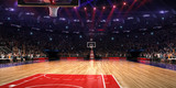 Basketball court with people fan. Sport arena.Photoreal 3d rende - 131592129