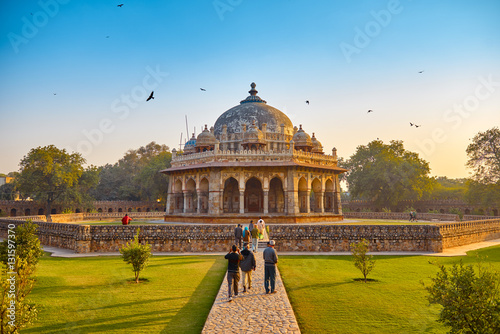 DELHI,INDIA-DECEMBER 14,2015: Humayun's Tomb (Mausoleum) in the garden of the Char Bagh