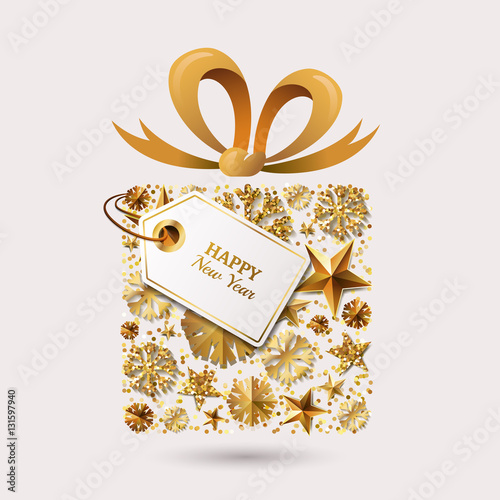 New Year vector greeting card template. Gift box with 3d gold stars, snowflakes, bow ribbon and tag. Winter holiday golden illustration. Design for for banner, party invitation, flyer for gift shop.