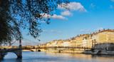 The Saône River and a pedestrian bridge in Lyon, France, Europe