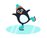 Little cute penguin in hat and skates on the ice rink. Vector illustration