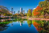 charlotte city skyline from marshall park autumn season with blu