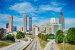 atlanta downtown skyline with blue sky