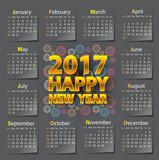 Happy New Year 2017 calendar on gray color design vector illustration.