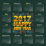 Happy New Year 2017 calendar on dark green color design vector illustration.