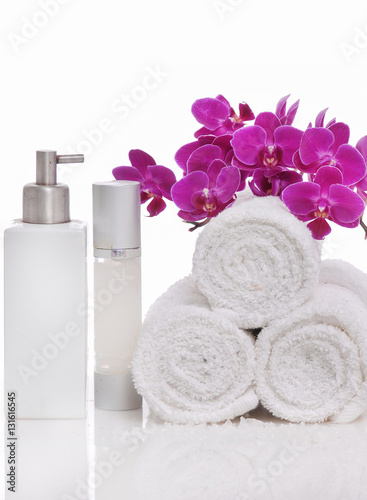 Plexiglas Spa Spa still life with bottle of herbal essenses