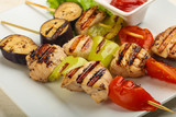Chicken and vegetables skewer