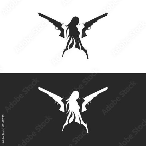 girl with gun silhouette logo isolated buy photos ap images