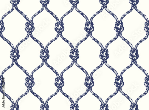 Cotton fabric Rope seamless tied fishnet pattern