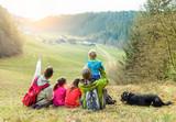 Large family having trekking vacation day in switzerland mountain