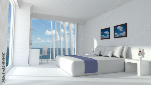Modern luxury hotel room 3D rendering