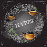 Vector card with outline  cup, leaf words Tea Time.