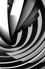 Shiny black spiral structures, 3d art