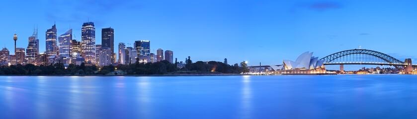 Harbour Bridge and Sydney skyline, Australia at dawn