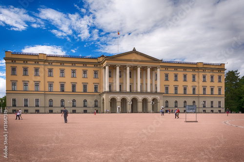 Poster Oslo, Norway - July 18, 2016: View of the Slottet, the Royal Palace in Oslo in sunny daylight