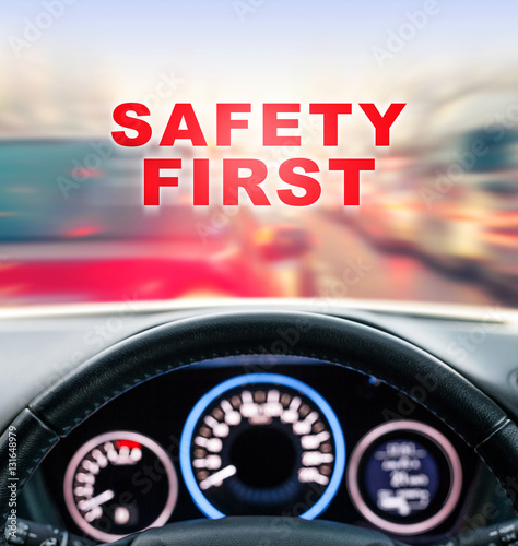 Plakat driving car activity with traffic jam background