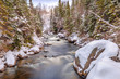 Cold winter stream flowing  snow covered landscape