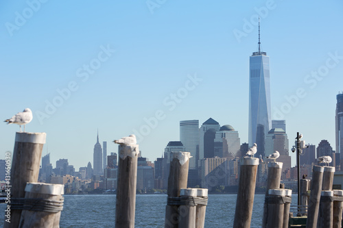 One World Trade Center and New York city skyline view and empty pier Poster