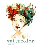 Vector illustration watercolor. Abstract illustration depicting a portrait of a woman.