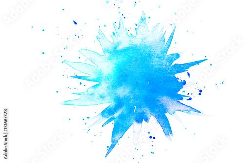 Abstrakter Klecks in Aquarell aus Farbe in blau und türkis Poster