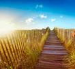 Wooden boardwalk through the dunes to a Maine beach at sunrise