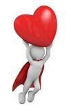 omino 3d che regge un cuore