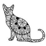 Vector illustration of a cat mandala for coloring book, gatto mandala vettoriale da colorare