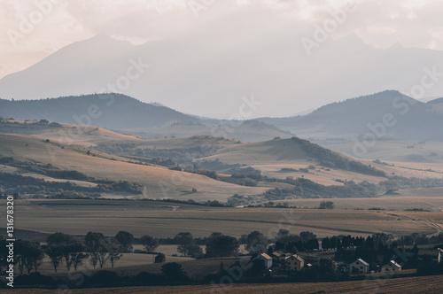 Letni krajobraz z polami i górami - 131678320