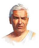 Portrait of a men hand-written