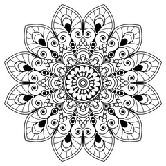 Mehndi henna floral element for tatoo mandala in Indian style.