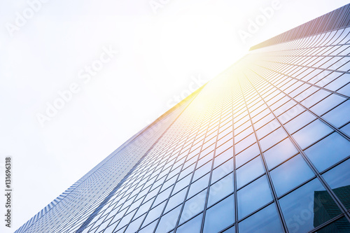 Poster Business concept for real estate and corporate construction - looking up view in
