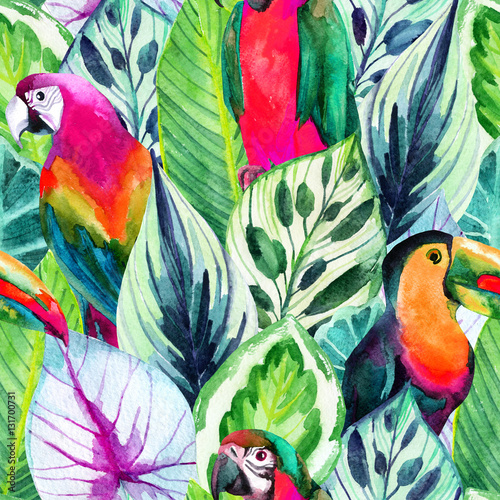 Cotton fabric watercolor parrots and tropical leaves seamless pattern