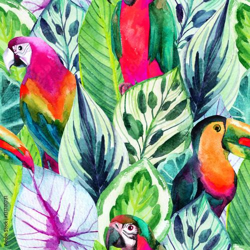 Stoffe zum Nähen Aquarell Papageien und tropische Blätter nahtlose Muster