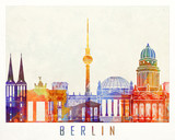 Berlin landmarks watercolor poster