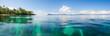 panoramic shot over water of tropical beach.