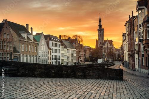 Staande foto Praag View on Jan Van Eyck Square in Bruges, Belgium