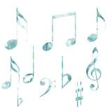 Note musicali varie con texture acquarello