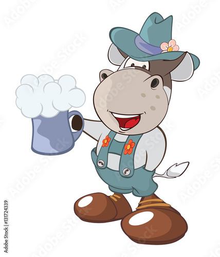 Deurstickers Babykamer Illustration of a Cute Cow. Cartoon Character