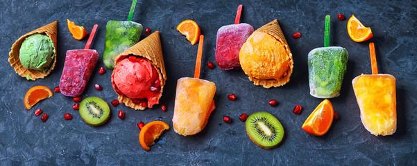 banner with assortment of ice cream sundae © nikolaydonetsk