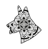 Vector illustration of a dogs head mandala for coloring book, testa di cane mandala da colorare vettoriale