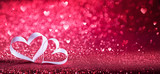 Valentines Day - Ribbon Shaped Hearts On Red Shiny Background