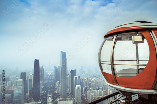 Poster Aerial View of Chinese City Skyline