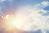 new hope or heaven sky, beautiful summer blue bright cloudy sky with sunset light ray.