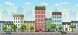 Seamless cityscape cartoon background with cars - 131767304