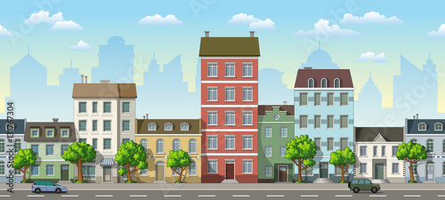 Papiers peints Piscine Seamless cityscape cartoon background with cars