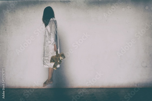 Mysterious Woman, Horror scene of scary ghost woman on white wall with black sha
