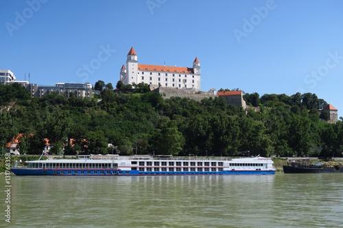 Poster Bratislava Castle over Danube River in Slovakia