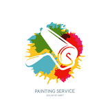 Vector logo, label, icon or emblem design element. Paint roller on watercolor paints splash background. Concept for home decoration, building and staining, House painting service, decor and repair.