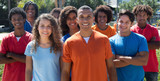 Large group of standing young man and woman - 131796306